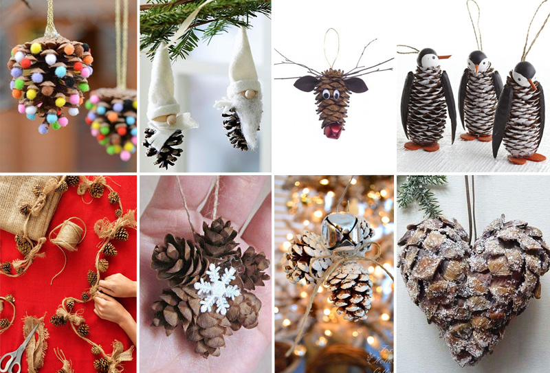Pigne le idee creative per gli addobbi di natale - Decorazioni natalizie legno fai da te ...