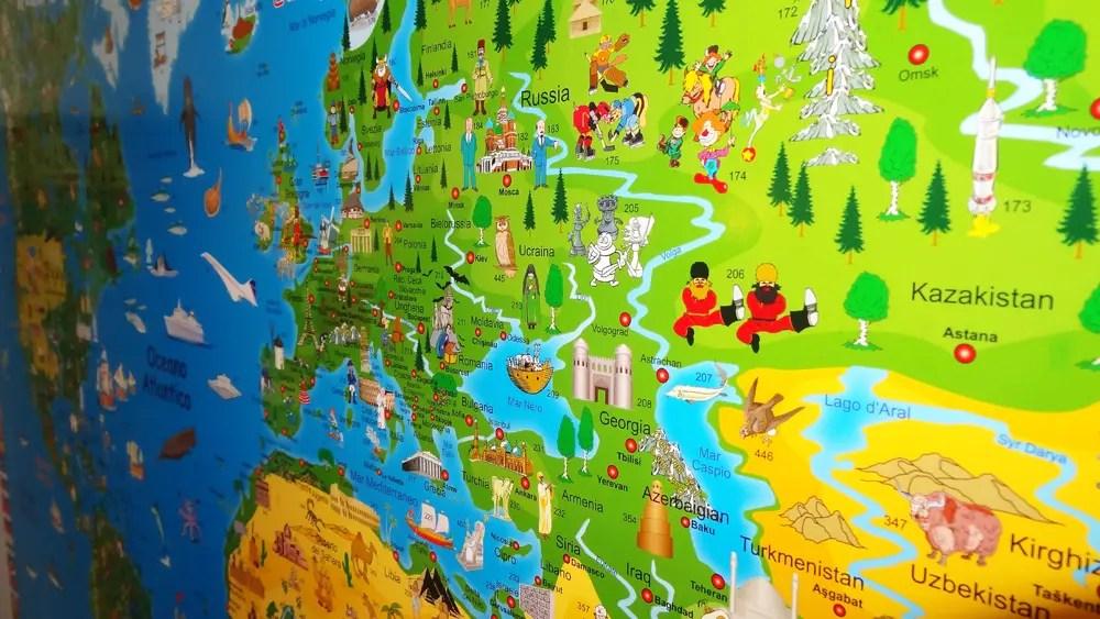 Mappa geografica del mondo illustrata per bambini - Brickone