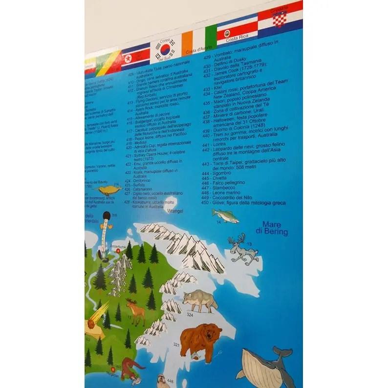 CARTINA ILLUSTRATA del MONDO - Mappa in LINGUA INGLESE - Brickone - cartina mondo