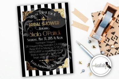 Bridal Shower Invitation, Great Gatsby, Printable Invitation, Roaring 20's, Birthday Party, Gold Glitter, Digital or Printed Invitation