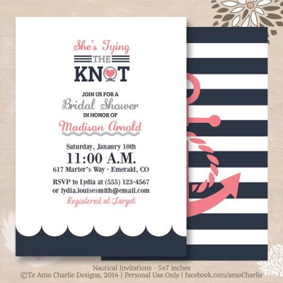 Tying The Knot Nautical Bridal Shower Invitations