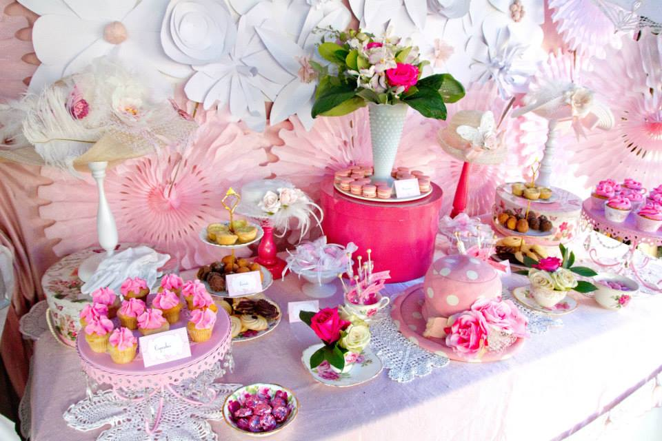 Food Ideas Pink And White High Tea Bridal Shower Backdrop