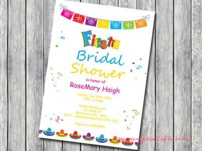 Fiesta Bridal Shower Invite Baby Invitation Luau Personalized