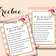 Free Who Knows Bride Groom Game