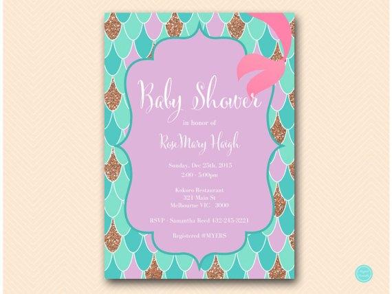 Mermaid Bridal Shower Invitation, Gold Baby Shower Invitation, Bridal Shower Invitation, Baby Shower Invitation