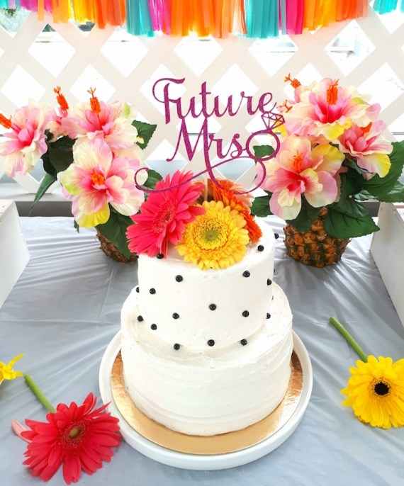 Pink-Tropical-Bridal-Shower-Cake-Flowers