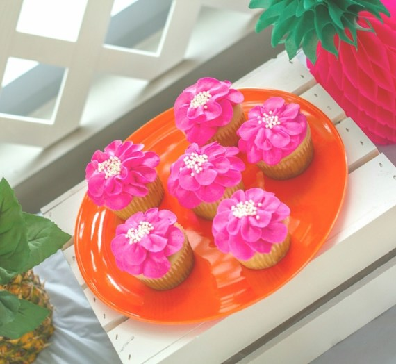 Pink-Tropical-Bridal-Shower-Frosted-Cupcakes