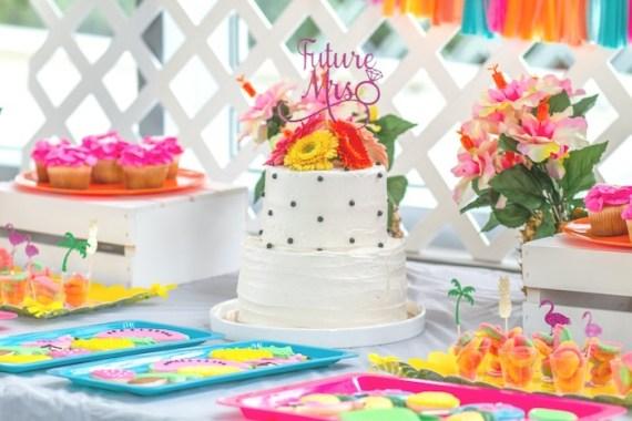 Pink-Tropical-Bridal-Shower-Layered-Cake