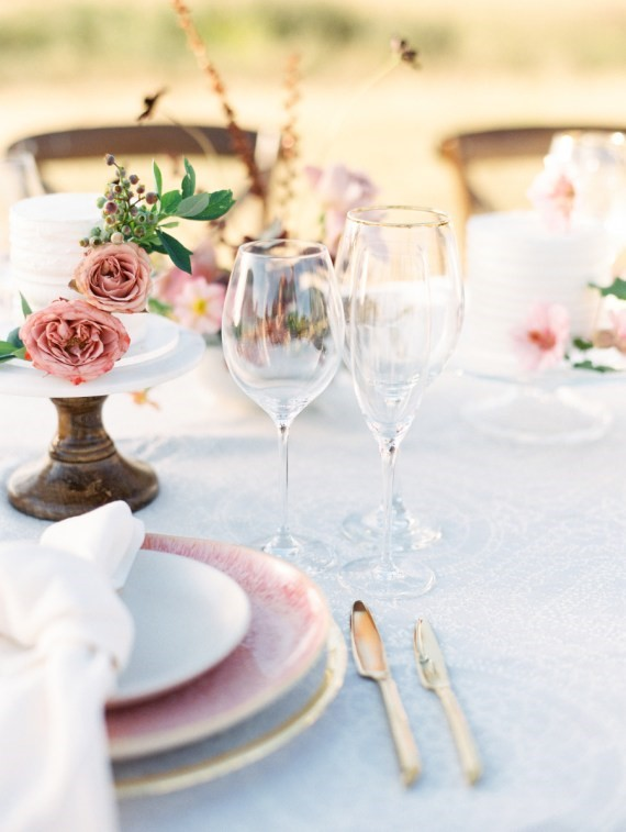 Dreamy Outdoor Bridal Shower table setting decor