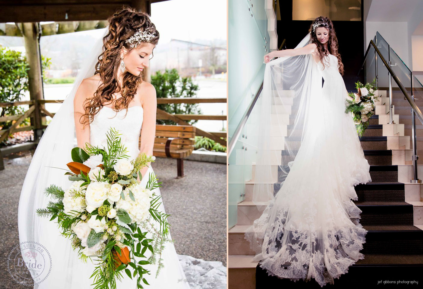 LeahRose amp Brendan at Sutton Placebr A Real Winter Wedding Vancouver Style elvish wedding dress Leah Rose s gorgeous St Patrick gown