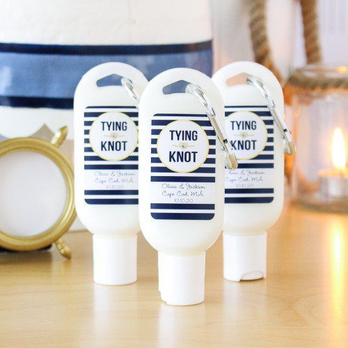 tying the knot Personalized Sunscreen with Carabiner