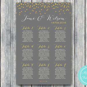 Gold Sprinkle Printable Wedding Seating Chart Wedding Seating Board WD47 WC35