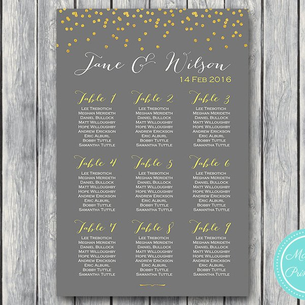 Custom wedding seating chart free wedding seating charts gold sprinkle printable wedding seating chart wedding seating board wd47 wc35 junglespirit Image collections