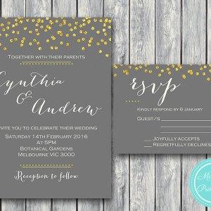 Gold Wedding Invitation Set Invitation Suite WD47 WI07