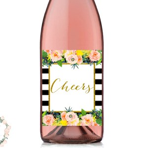 WD54-cheers-floral-black-stripes-bridal-shower-wine-decoration