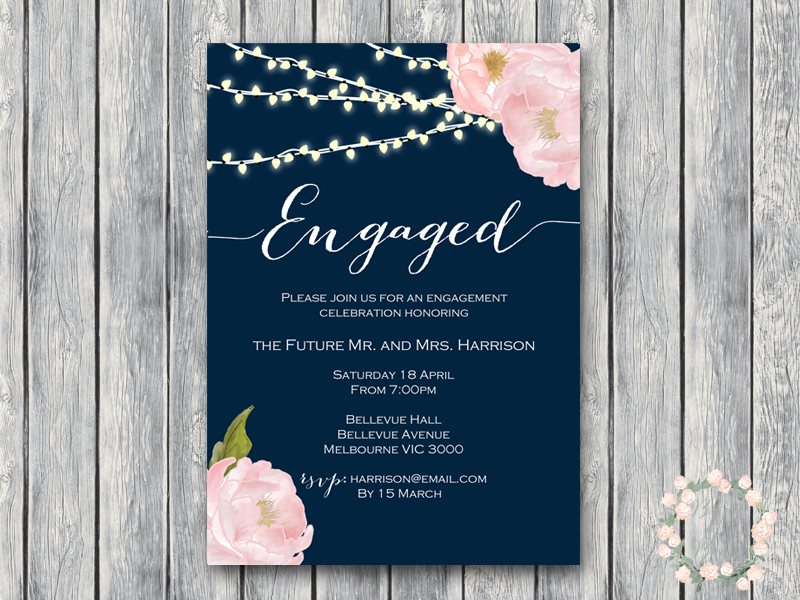 Peonies Night Strings Engagement Party Invitations