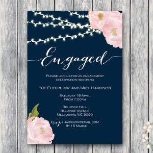 CUSTOM Peonies Night Strings Engagement Invitation