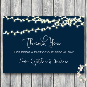 Night String Lights Wedding Thank You Cards, Favors, Thank You