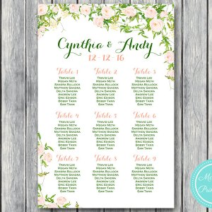 Custom Fresh Garden Find your Seat Chart-Printable Wedding Seating Chart 2