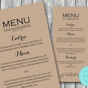 Personalized Modern Textured Elegant Wedding Menu-Custom Wedding Menu Printable 2
