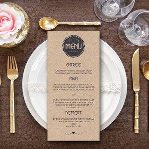 Personalized Textured Modern Wedding Menu-Custom Wedding Menu Printable