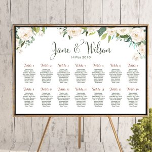 White Flower Printable Custom Wedding Seating Chart Wedding Seating Poster