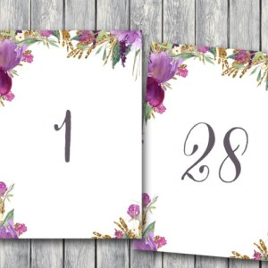 table-signs-purple-floral