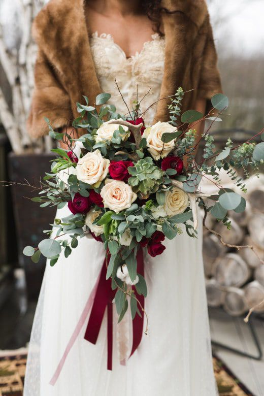 Romantic Winter Rustic Wedding Bride Bows