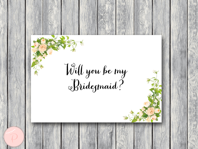 DOWNLOAD Wedding Card Printable - Will you be my Bridesmaid