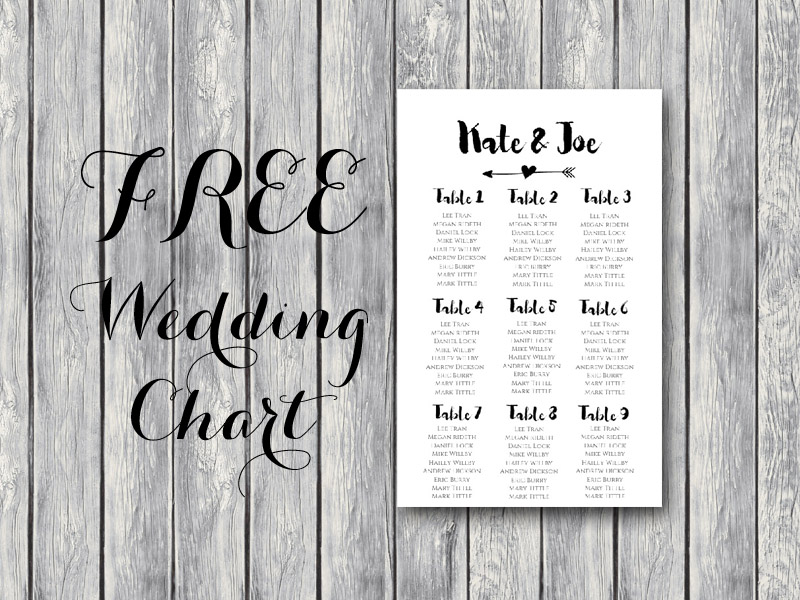 Free Arrow Wedding Seating Chart Template - Bride + Bows - free printable seating chart