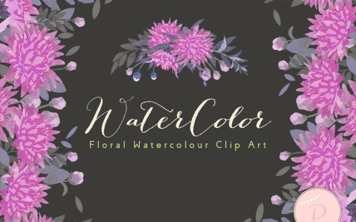 WCA88-purple-pink-magenta-dandelion-floral-clipart