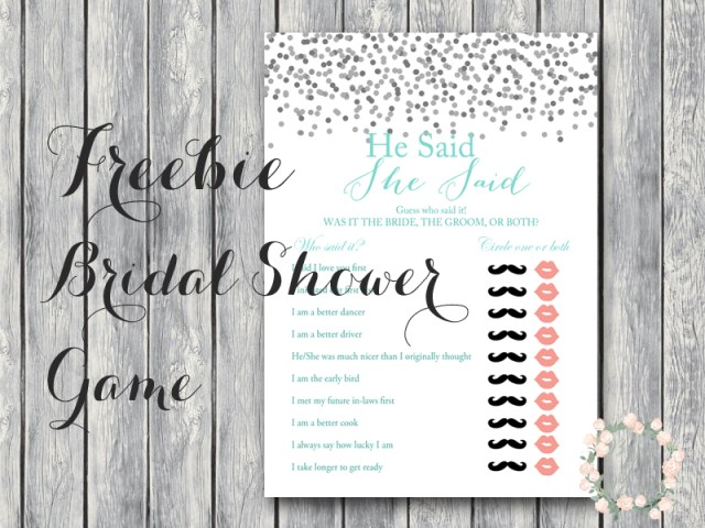 Free He Said She Wedding Shower Bridal