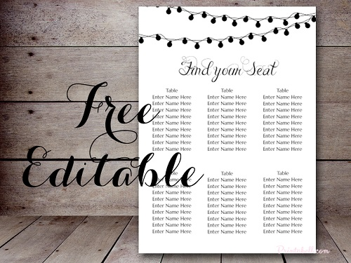 Free Night Light Wedding Chart Printable - Bride + Bows