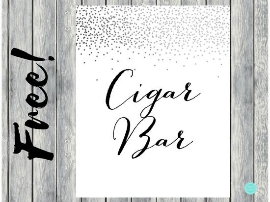 Free Silver Confetti Cigar Bar Sign