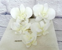 Wedding hair accessories - Orchid hair pins - White orchid ...