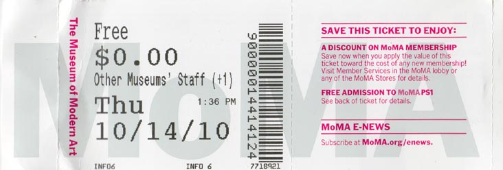 moma 2010 tickets Pinterest Moma - movie theater ticket template