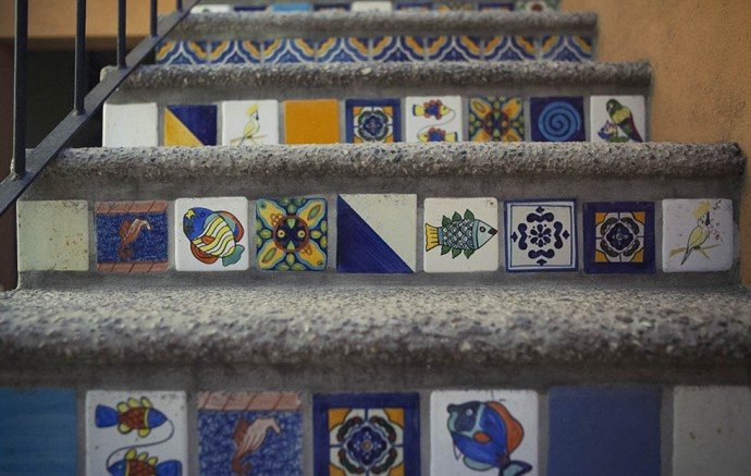 Mosaic tiles, San Pancho, Mexico