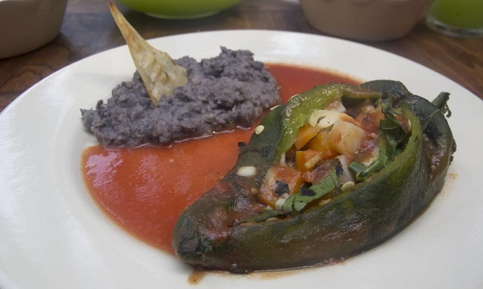 Stuffed poblano chilli - delicious!