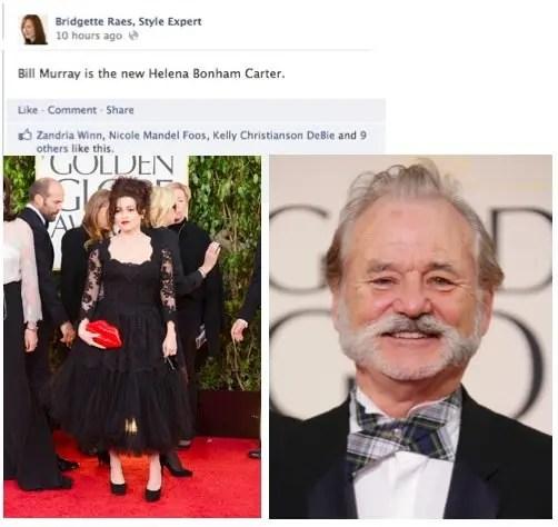 Bill Murray Helena Bonham Carter Golden Globes Fashion 2013