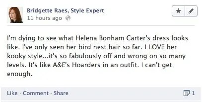 Helena Bonham Carter Golden Globes Fashion