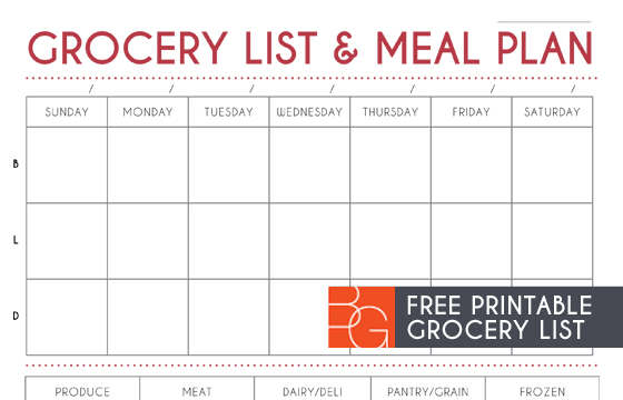 Grocery List and Meal Plan Printable - meal planning template with grocery list