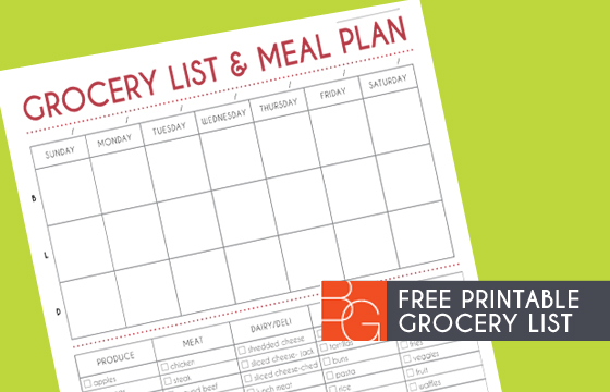 Grocery List and Meal Plan Printable - weekly dinner planner with grocery list