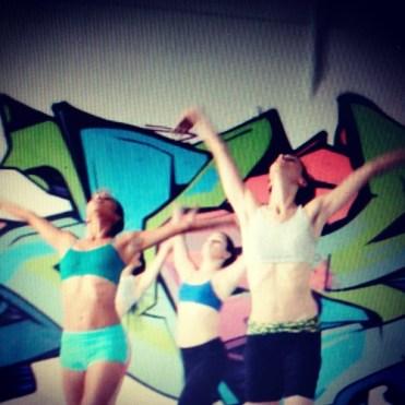 "Rehearsal of ""Southern Breakdown"" at Love Steady Arts Dancers are Sasha Caicedo, Amanda Edwards, and Juliana Triviño"