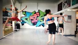 Rehearsal at Love Steady Arts, dancing are Brigette Cormier, Amand edwards, and Juliana Triviño