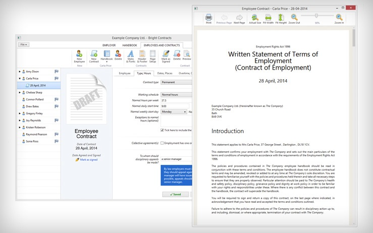 Bright Contracts - Employment Contract and Staff Handbook Software