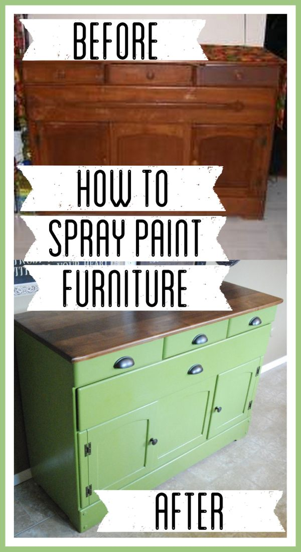 Spray painted diy refinished green buffet Spray paint for wood furniture