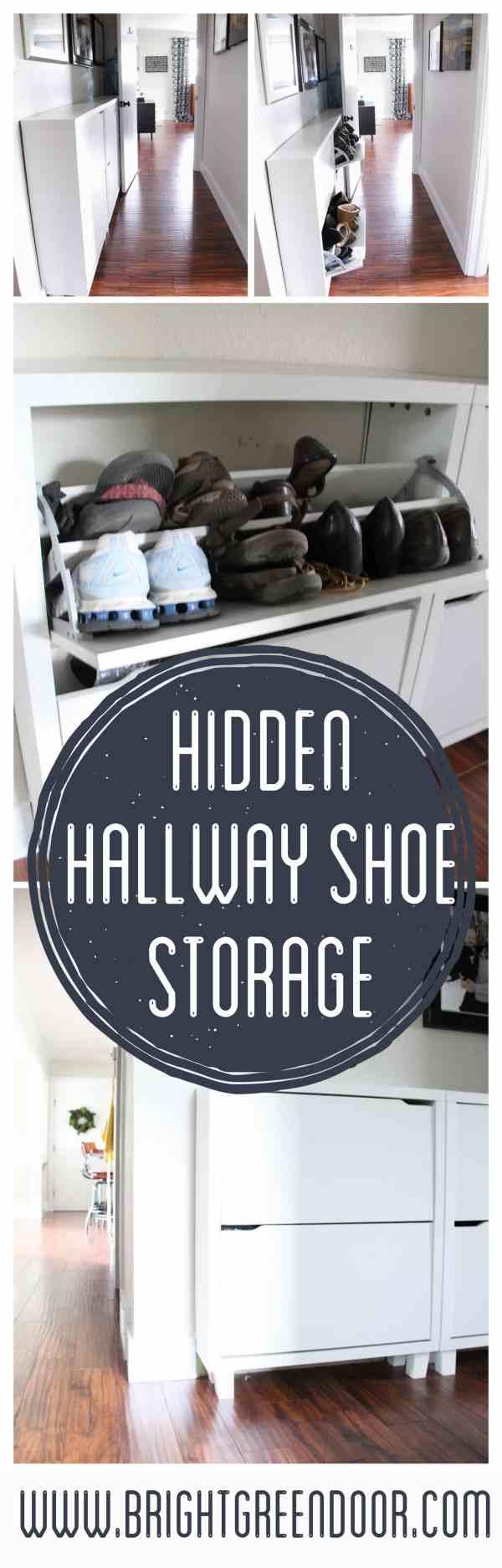 Foyer Shoe Storage Solutions : Hallway shoe storage solution bright green door