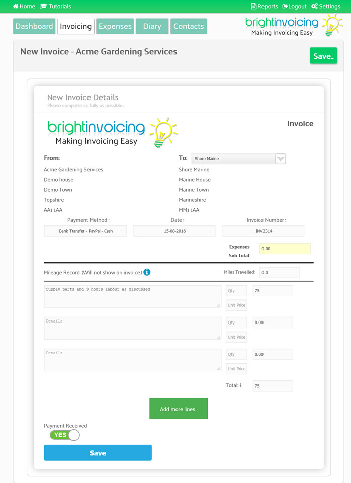 Easy Invoicing - Bright Invoicing Online Invoicing made easy