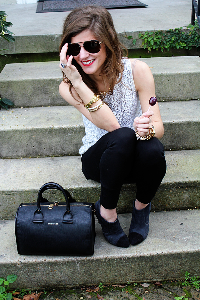 Sparkle top and black skinnies via brightontheday