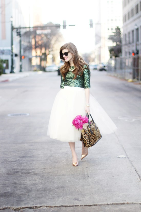 Emerald Green and Tulle Skirt (24) (Custom)